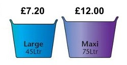 45 litre and 75 litre ice buckets.